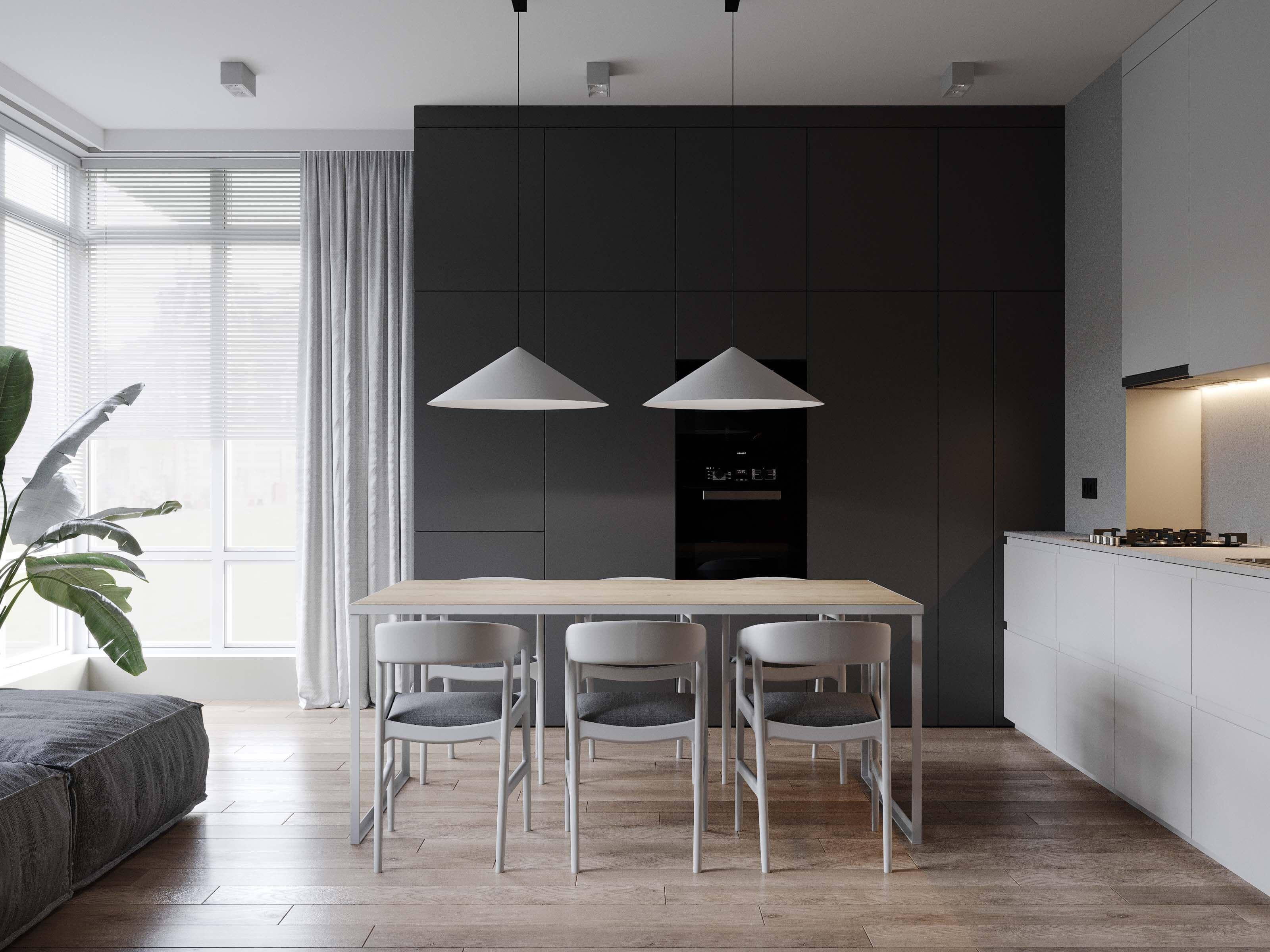 design interior bucatarie cu living