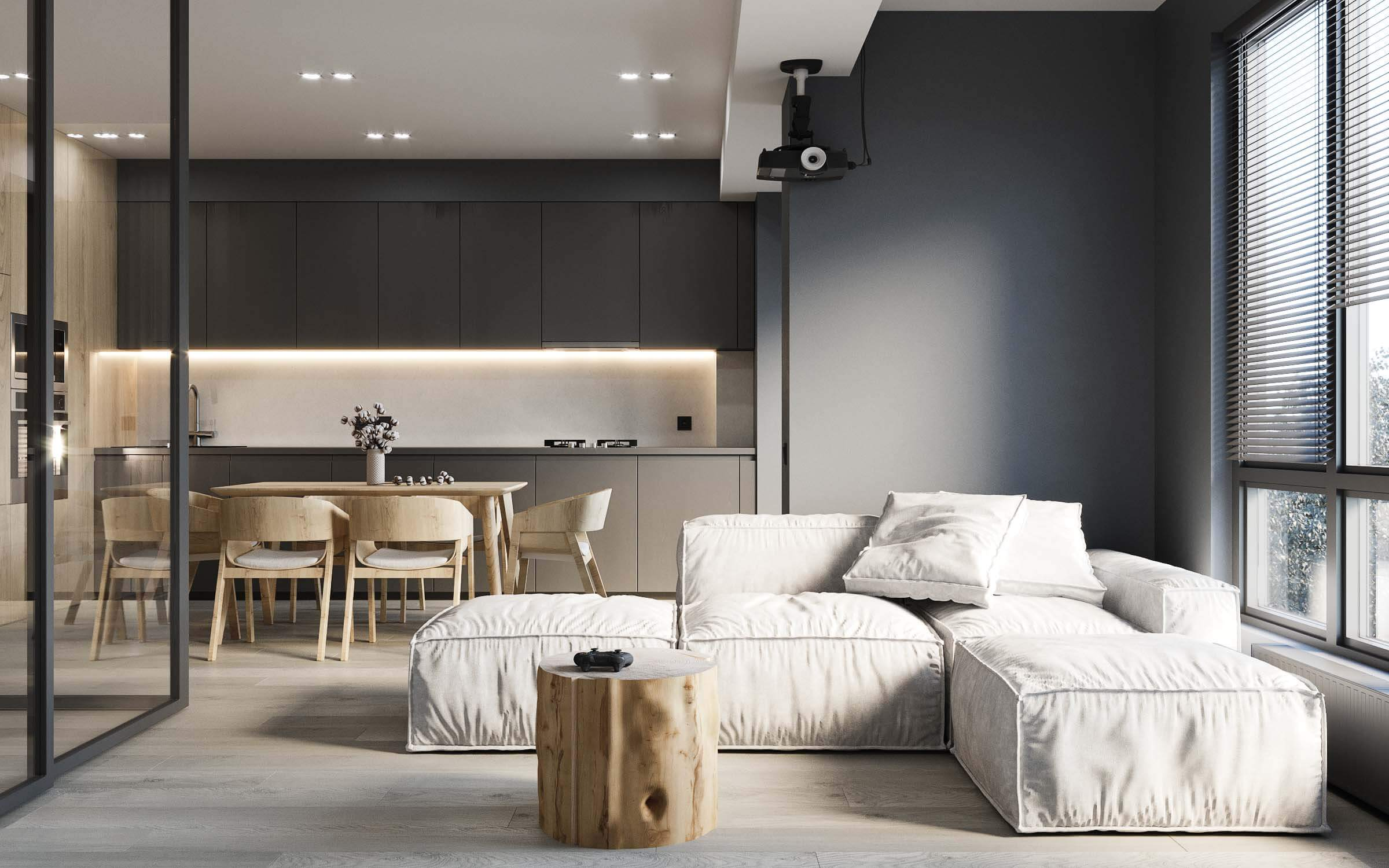 living si bucatarie design apartament in stil minimalist