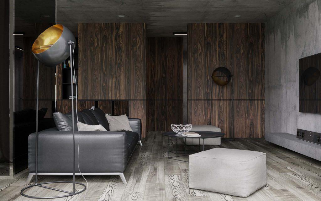 living minimalist cu decor in stil industrial