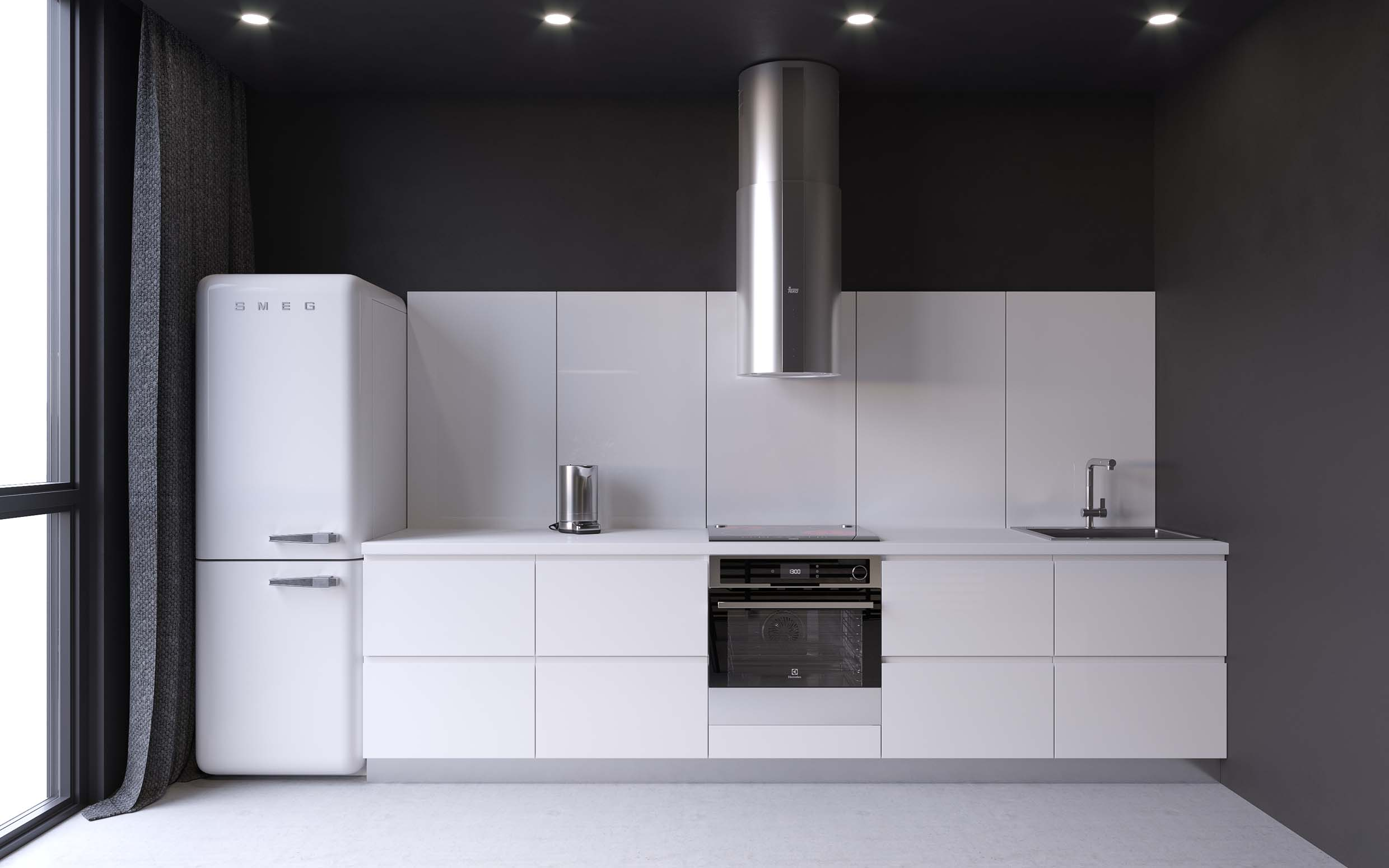 white kitchen designed in minimalist style