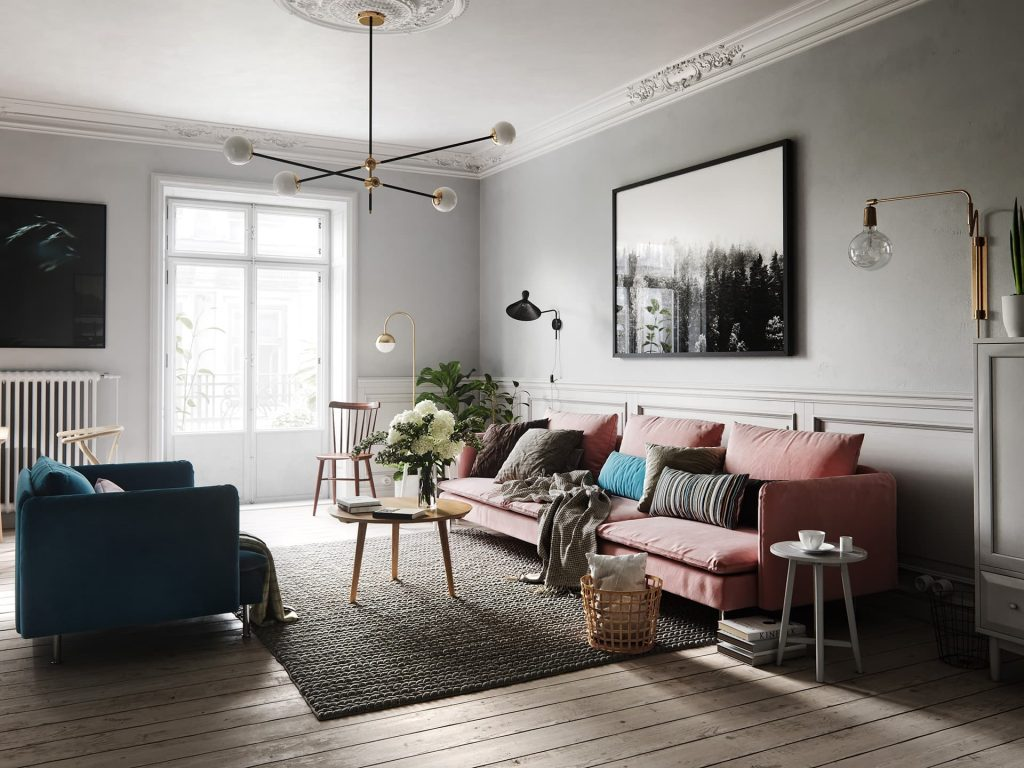 design interior living room in stil scandinav chisinau