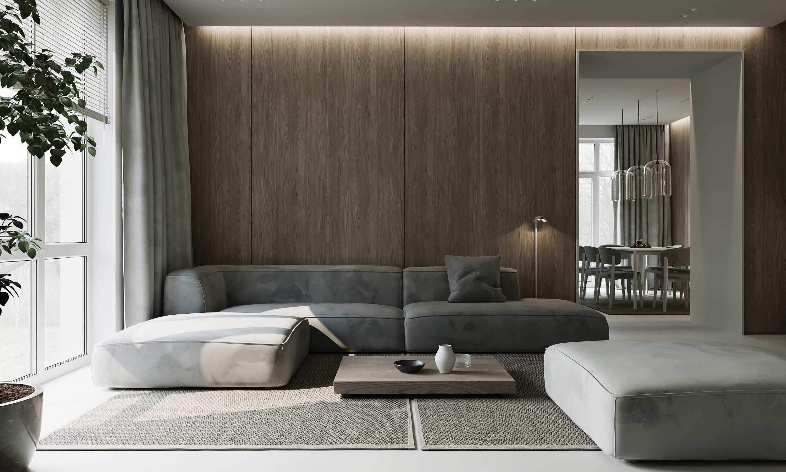 living room with interior design in neutral colors