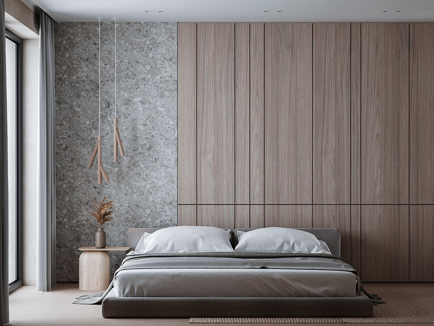 bedroom with minimalist style design in neutral colors