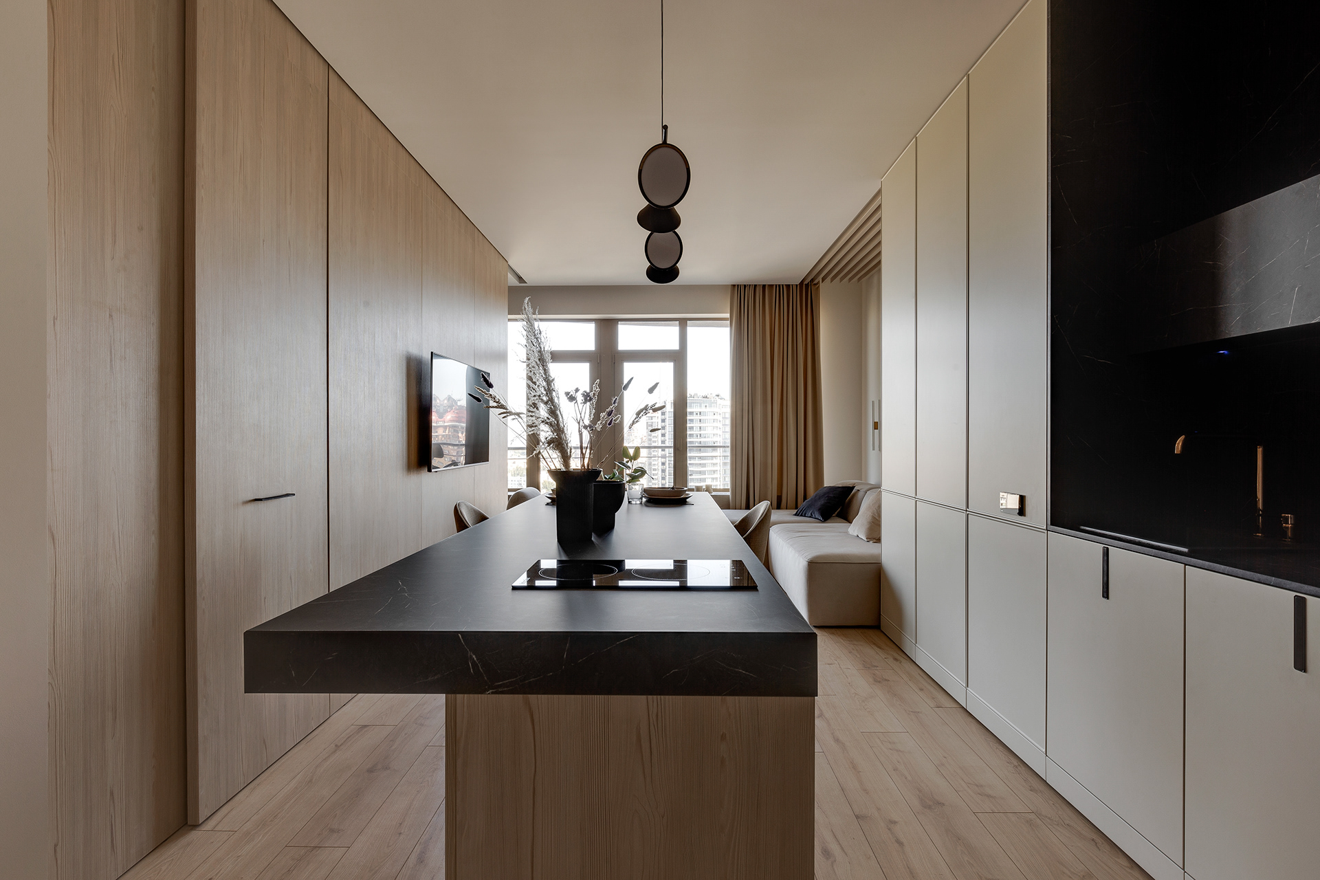 kitchen interior design with living room in neutral colors