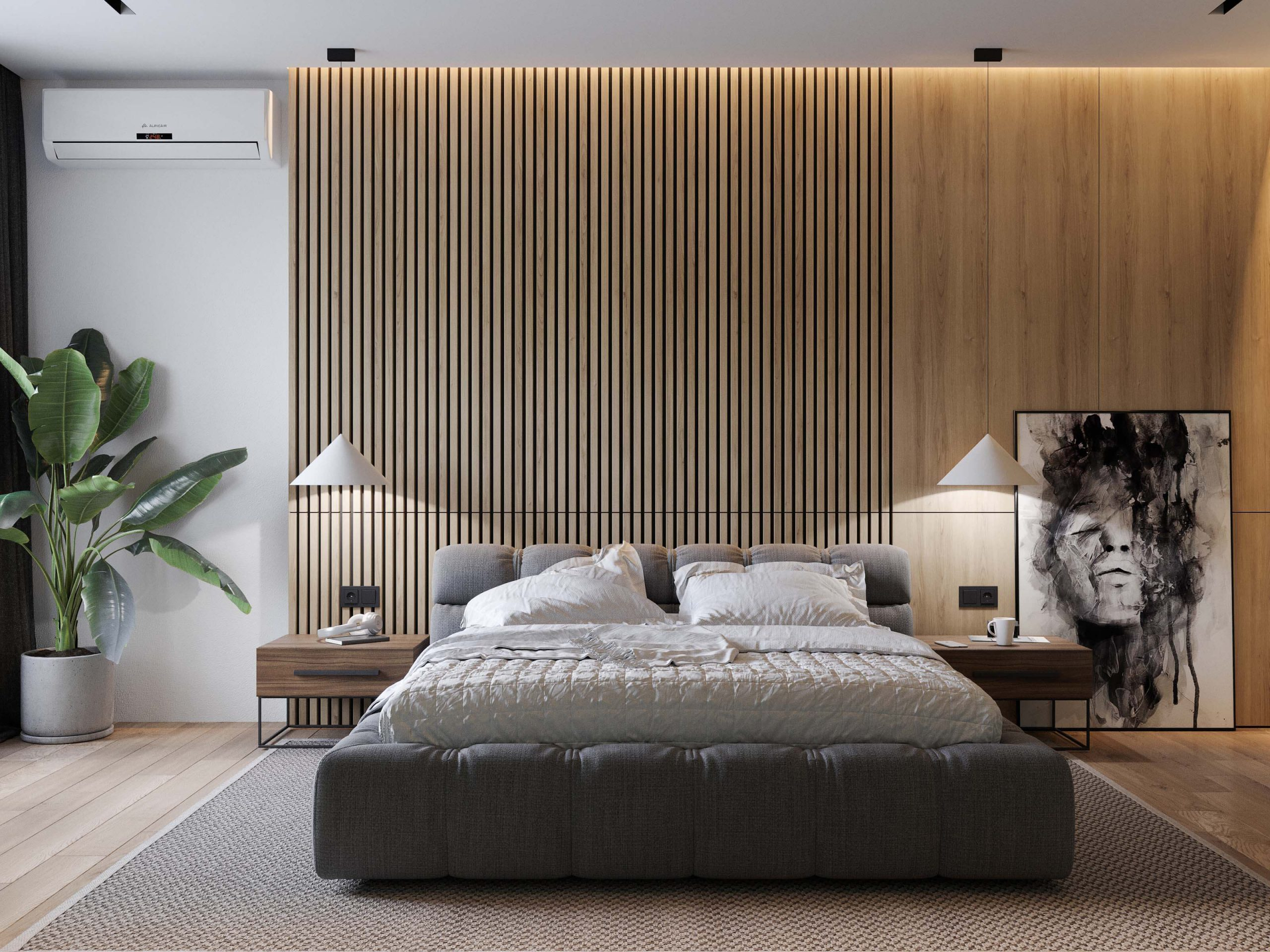bedroom interior design in minimalist style with a large panoramic window