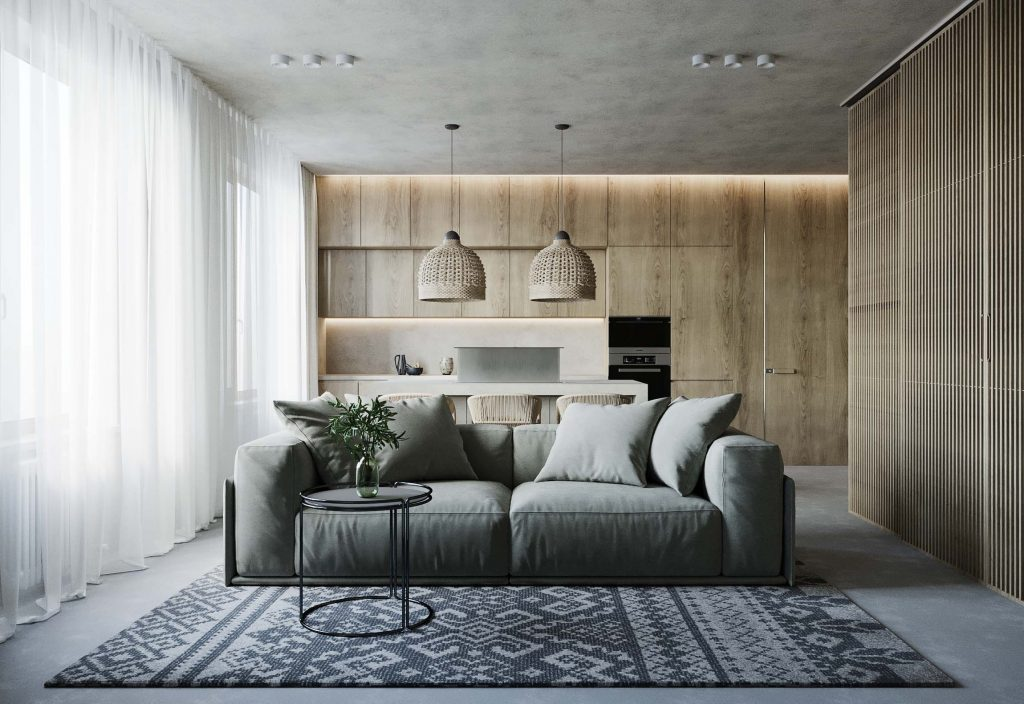 design interior living room si bucatarie in stil scandinav chisinau